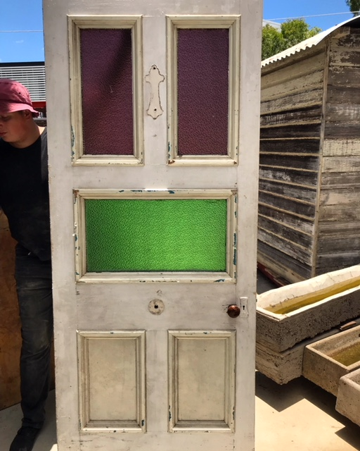 Front Door With Pink And Green Glass